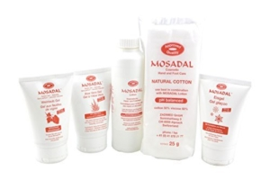 Kosmetische Hand- und Fusspflegemittel Set 5 in 1 Professionelle Hornhautentfernung! Mosadal Lotion 250ml - Mosadal Aloe-Vera Gel 100ml - Mosadal Eisgel 100ml - Mosadal Weinlaubgel 100ml - Mosadal Kosmetikwatte 25g -